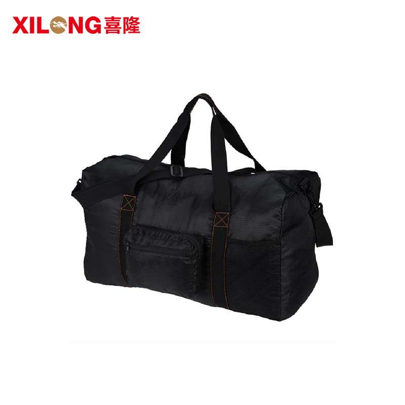 Foldable  large capacity black polyester travel duffle bag-1