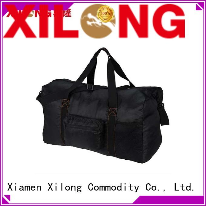 Foldable  large capacity black polyester travel duffle bag