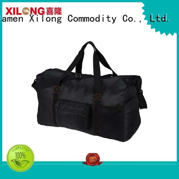 Foldable  large capacity black polyester travel duffle bag