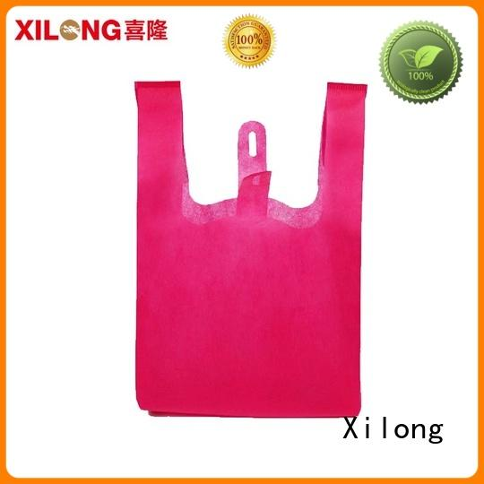 Xilong colorful reusable cloth shopping bags handle for trip