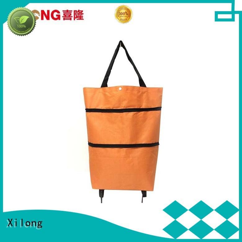 Xilong foldable portable shopping trolley bag laminated for women