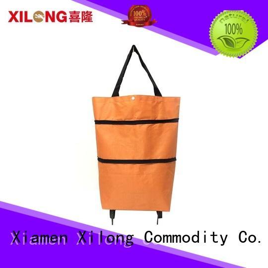 Xilong bag folding shopping trolley on wheels laminated for women