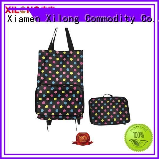 Xilong foldable fold up shopping bag with wheels customization for girls